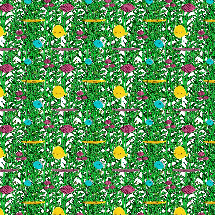 Patroon onderwaterwereld groen